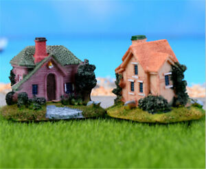 Miniature-Dollhouse-Resin-House-Model-Garden-Cartoon-Villa-DIY-Decor-UK
