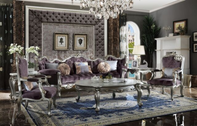 Luxurious Victorian Amethyst Fabric Carved Platinum 3pc Livingroom Furniture Set For Sale Online Ebay