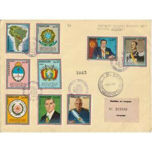 1972-Paraguay-Presidential-and-Badges-9-Values-Envelope-FDC-Viaggiata-MF63240