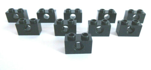 10 X LEGO ® 1879//3700 Technologie lochsteine 1x2 noir comme sur la photo.