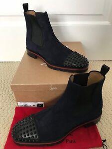wholesale dealer 4be21 0d54d Details about NIB Christian Louboutin Melon Spikes Navy Suede Black Chelsea  Boots Sz 43 10