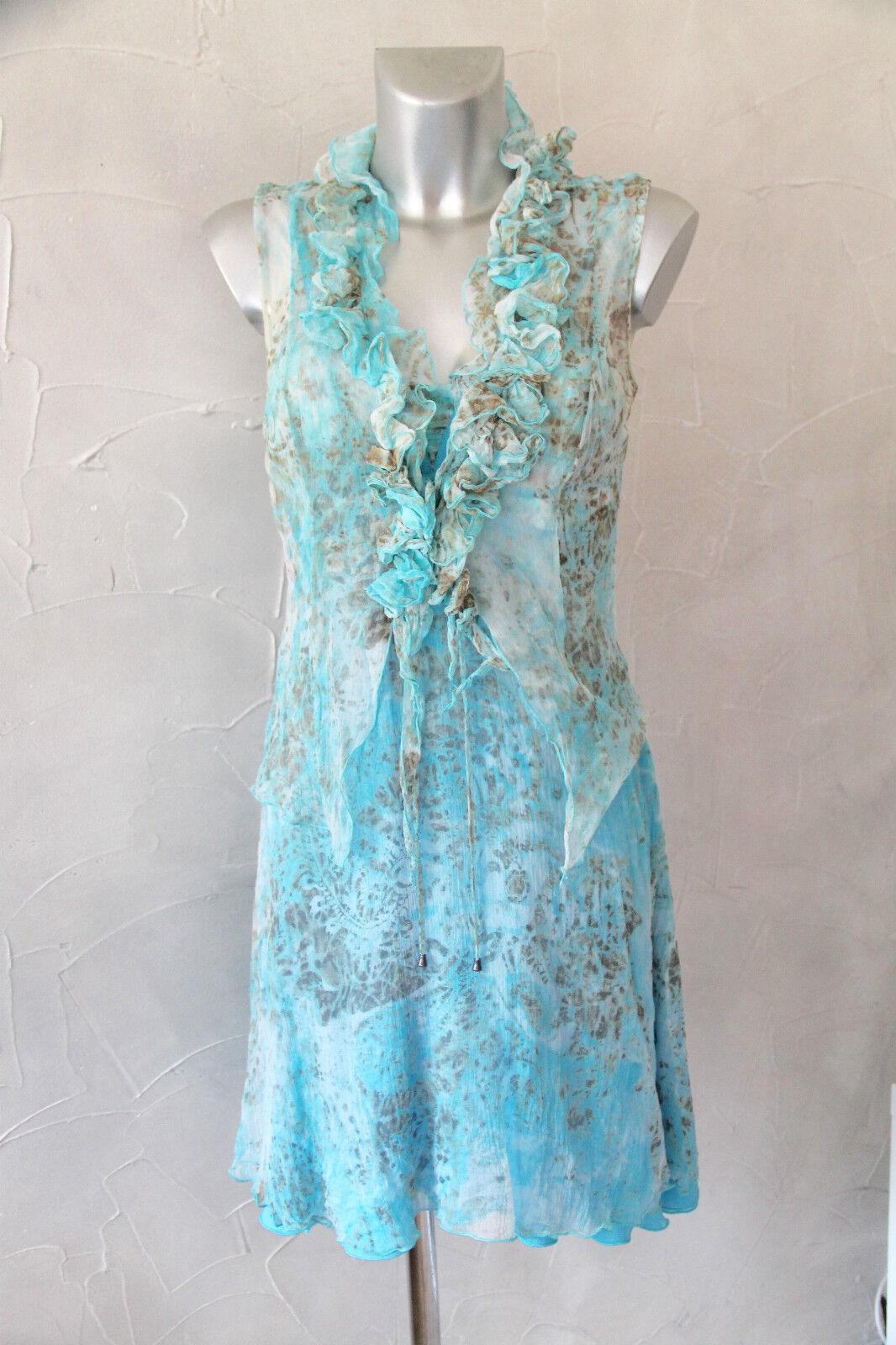 Luxuriöse Kleid Gefüttert Neutral Weiß Seide Türkis + Top Ikito Größe 36 (I 40)