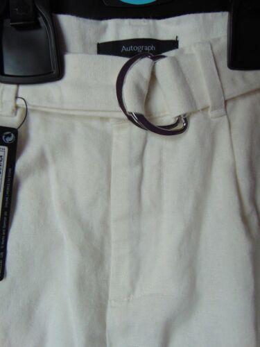 AUTOGRAFO Ragazze Inverno BIANCO Lino Ricco 3//4 Pantaloni con regolabili in vita età 4-11
