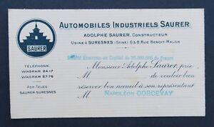 Carte De Visite CAMIONS SAURER Automobile SURESNES Old