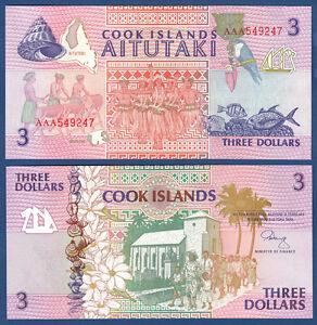 2019 Mode Cook Islands 3 Dollars (1992) Unc P.7 Attraktiv Und Langlebig