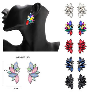 Fashion-New-Women-Leaf-Colorful-Bib-Statement-Mixed-Crystal-Earrings-Jewelry
