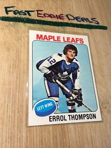TOPPS-HOCKEY-1975-ERROL-THOMPSON-CARD-114-TORONTO-MAPLE-LEAFS-EXCELLENT