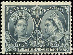 1897-Mint-H-Canada-F-Scott-58-15c-Diamond-Jubilee-Stamp