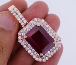 3-50-Carat-Diamonds-amp-20-Ct-Red-Gemstone-Pendant-Rose-Gold-Valentineday-Spl-Sale