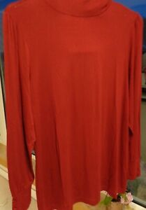 M-amp-S-Turtle-Neck-Long-Sleeve-Stretchy-Burgundy-Dark-Red-Polo-Top-Size-20-NEW