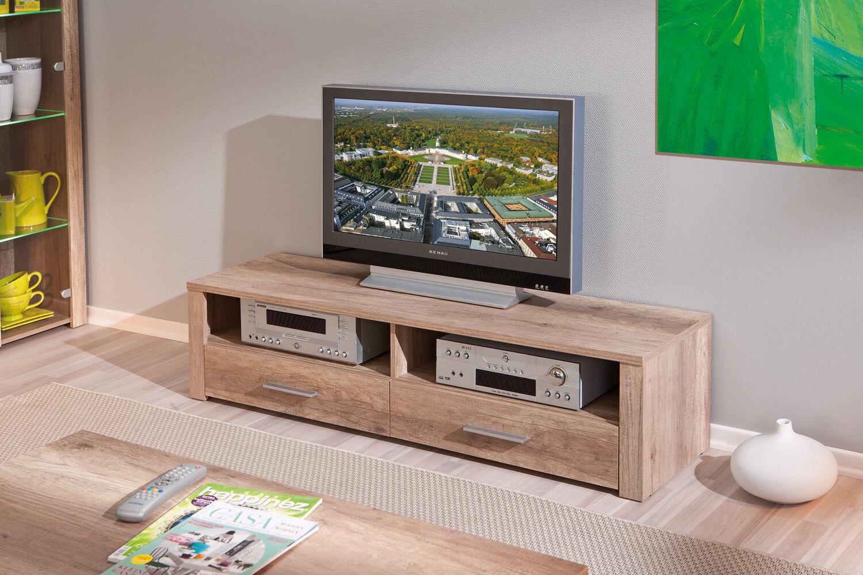 TV Lowboard Fernsehtisch 2 Farben 2 Schubladen 2 offene Fächer L-Aquilla-9 10