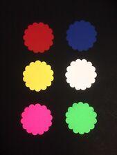 "60x Large scallop Circle Punch die cut pieces-2 1/4""  - 6 colors."