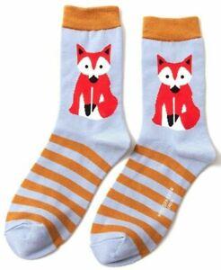 Ladies Fox /& Stripes Bamboo Socks Foxes Novelty Purple//Mustard 4-7 Miss Sparrow