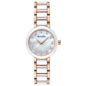Bulova Women's Quartz Diamond Accents Rose Gold Tone Ceramic 28mm Watch 98P160