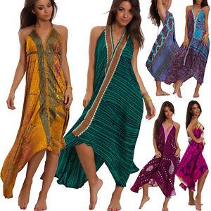 Vestiti Eleganti In Seta.Vestito Donna Abito Indiano Boho Chic Elegante Misto Seta Ibiza