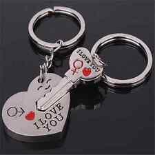 2pc Love Heart Key Pendant Key Chain Keyring Keychain Lover Valentine's Day Gift
