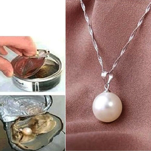 Fashion Women White Pearl Necklace Oyster Drop Pendant Silver Chain Jewelry