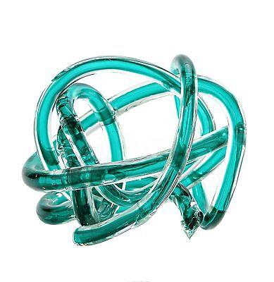 """New 6/"""" Hand Blown Art Glass Knot Sculpture Figurine Statue Green"""