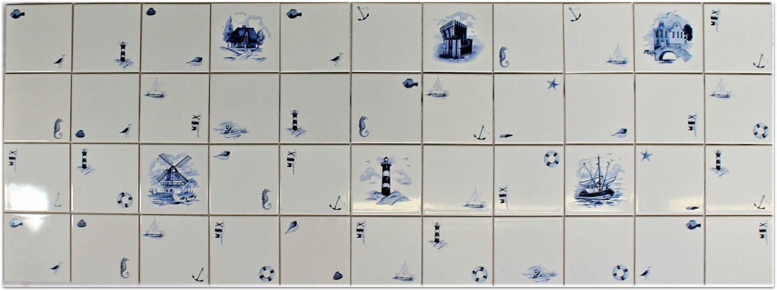 1 qm (m²) 15x15 Küchenfliesen Fliesenspiegel Delfter Art, Leuchtturm Strandkorb