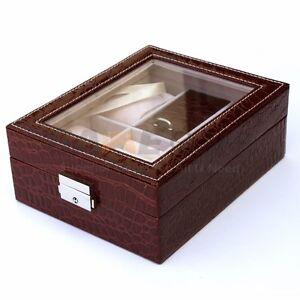 4 Slot Leather Watch Box Display Ring Organizer Jewelry Storage - Burgundy Red