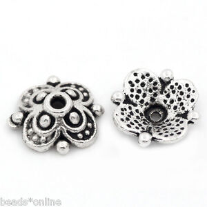 "3//8/""x3//8/"" 100PCs Beads Caps HQ Flower Silver Tone 10mmx10mm"