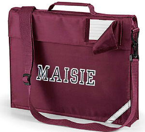 Details About Personalised Varsity School Book Bag With Strap Embroidered Name