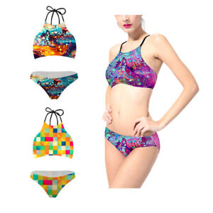 047fe97671 2018 Women Summer Beach Bikini Sets Two Piece High Neck Sexy 3D Mix ...