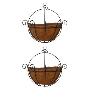 2pcs Half Round Planter Wall Hanging Coconut Indoor Outdoor Flower