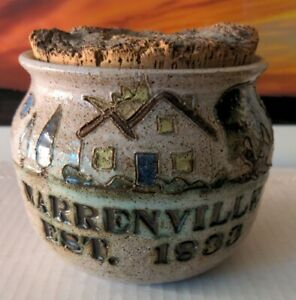 Warrenville Illinois Established 1833 Clay Pottery Crock With Cork Stopper