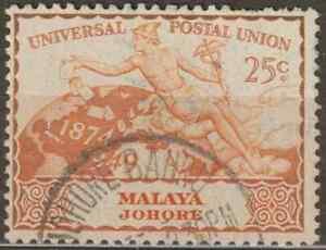 MALAYSIA-MALAYA-JOHORE-1949-UPU-10c-USED