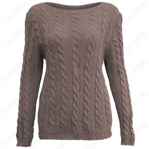 Neu Damen Zopfmuster Shorts Pullover Langarm Damen Warm Gestrickt Stretchtop