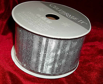 CELEBRATE IT SHEER SILVER & STRIPES GLITTER WIRE EDGE  2.5  X 25 FT