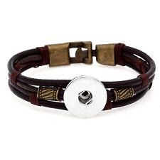 DIY 1pcs Handmade Leather bracelet For Noosa snaps chunk button A088