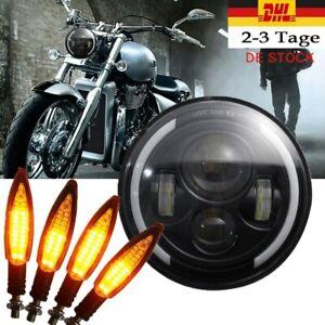 7-034-Motorrad-LED-Haupt-Scheinwerfer-4-tlg-LED-Blinker-Fuer-Harley-E-Pruefzeichen