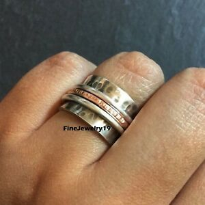 925-Sterling-Silver-Spinner-Ring-Wide-Band-Meditation-Statement-Jewelry-B10