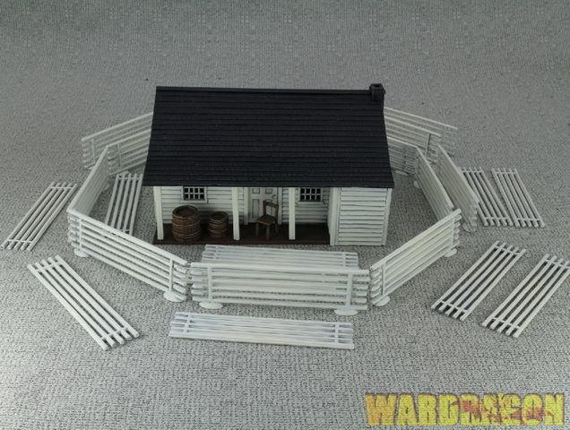 Perry miniatyr WDS målade Plastic Ranges låda set RPB1 American Farm House e63