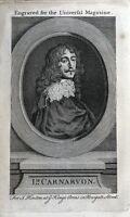 LORD CARNARVON, ROBERT DORMER, original antique portrait print 1754