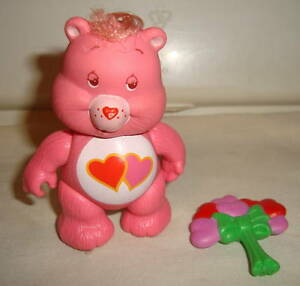 CARE BEARS VINTAGE POSEABLE LOVE-A-LOT BEAR WITH FLOWER BOUQUET ACCESSORY HTF