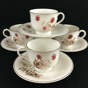 Set-of-4-VTG-Cups-and-Saucers-by-Noritake-Versatone-Outlook-Floral-B305W10-Japan