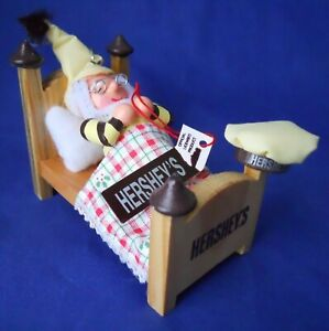 Hershey-Chocolate-Ornament-Elf-Sleeping-On-Bed-1997-Collector-Series