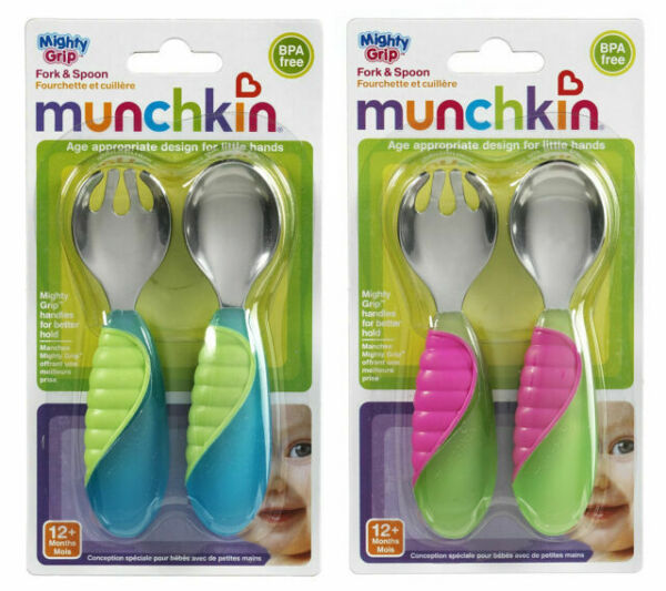 Munchkin 11338 Grip Fork And Spoon Assorted Colors 2 Piece Set