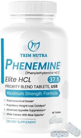 Phenemine Elite Adipex 37.5 P White/Blue Tabs  Diet Pills Lose Weight Fast
