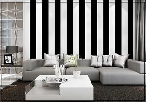 BLACK WHITE STRIPE FEATURE WALL WALLPAPER ART MODERN TEXTURED VERTICAL WIDE ROLL