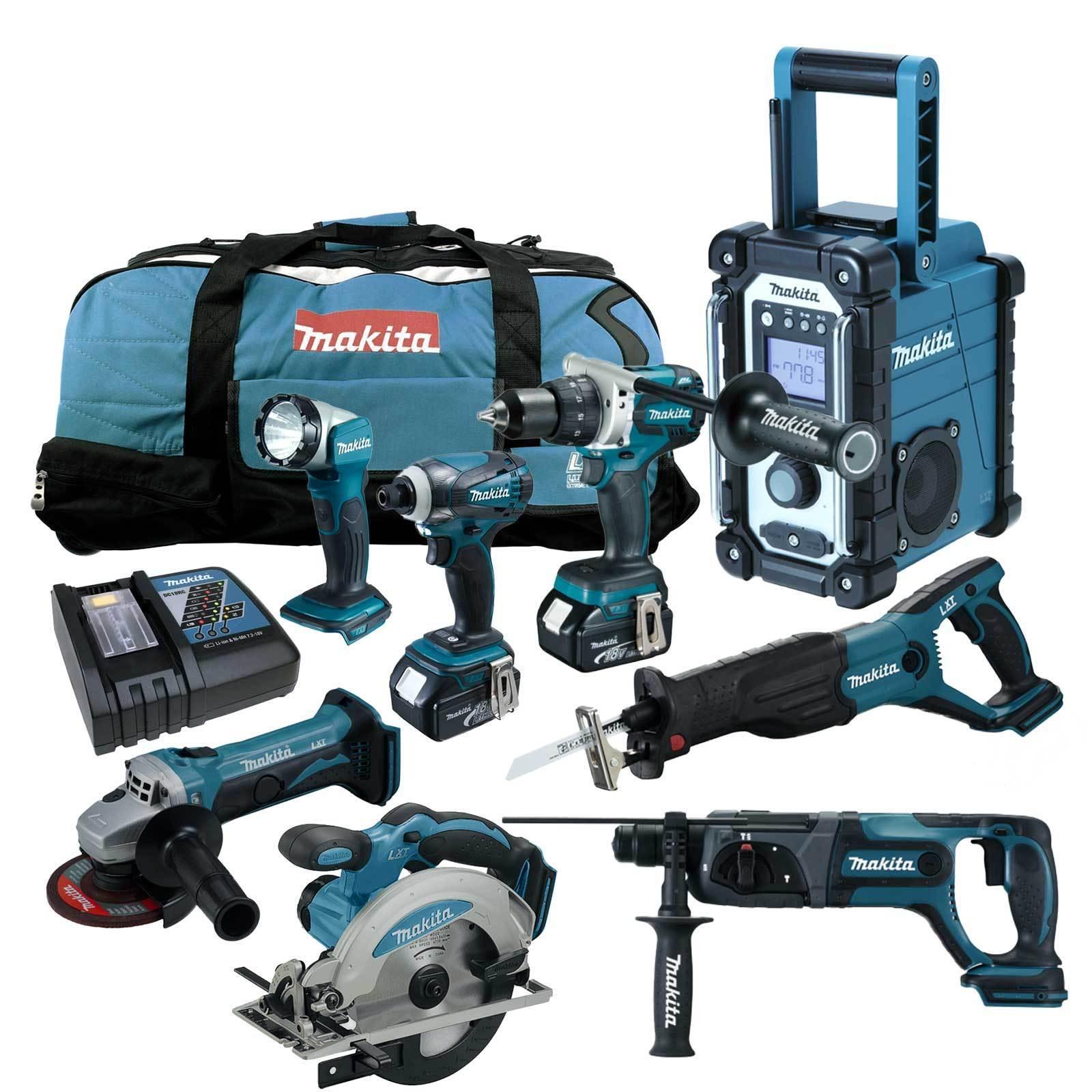 MAKITA LXT 18V 12tlg. Akku Werkzeug Set +DDF481 Bohrschrauber +DHR241 RMJ RFJ