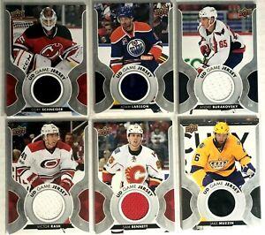 6-Card-Lot-2017-18-Upper-Deck-Game-Jerseys-Oilers-Bennett-Schneider-Kings-Flames