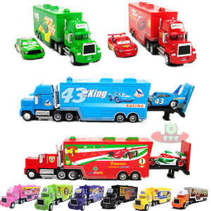 Disney-Pixar-CARS-Chick-King-Hicks-MACK-HAULER-Super-LINER-Truck-Giocattolo-Diecast-123