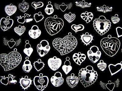 30g X Plata Tibetana aleatorio mixto Corazones Adornos Colgantes San Valentín amor P30