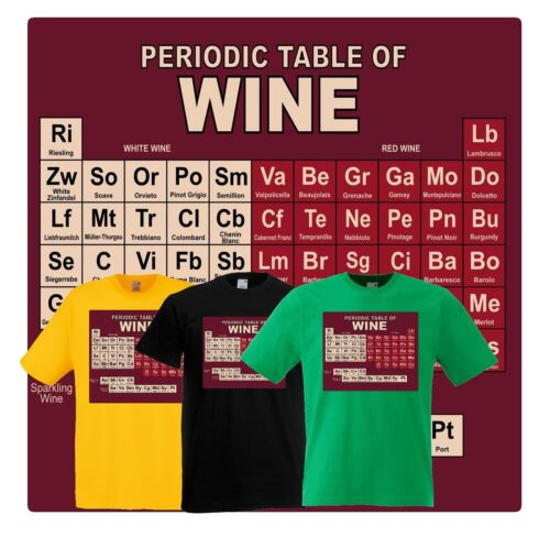 Periodic Table Of Wine Funny Science Alcohol T Shirt Ideal Gift Ebay