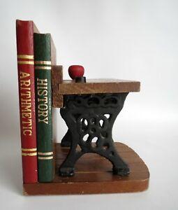 Details about CUTE Vintage Book End - School Daze Graffiti - Antique Desk  Wood Cast Iron Napco