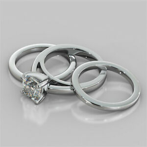 2.00 Ct Cushion Moissanite Trio Band Set 14K Solid White Gold Engagement Ring